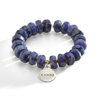 Roskilde Blue Stone and Brass Bracelet with Personalized Charm