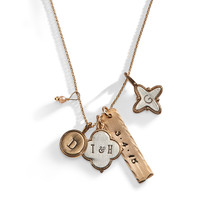 Calyx Mixed Personalized Charm Necklace in Bronze and Sterling Silver.