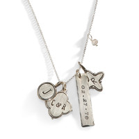 Calyx Mixed Personalized Charm Necklace in Sterling Silver.