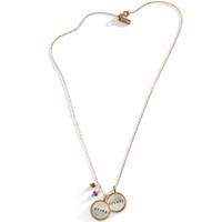 Double Rim Stamped Charm Necklace