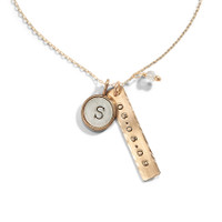 Nashville Personalized Initial Necklace in Yellow Gold.