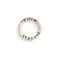 14K Gold Celebrian Small Round Personalized Stacking Ring Charm in Yellow Gold.