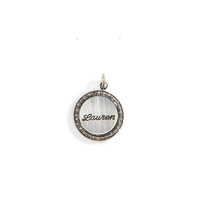 Petticoat Diamond Rimmed Personalized Name Charm