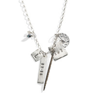 Alice Eclectic Personalized Charm Necklace in Sterling Silver.