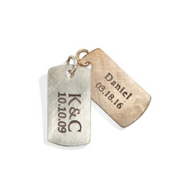 Rustic Personalized Dog Tag Charm in Sterling Silver and Bronze