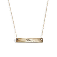 Demi 14K Gold Bar Nameplate Necklace in Yellow Gold