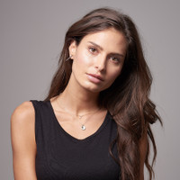 14K Gold Diamond Pave Letter Necklace layered with Blush Rose Gold Initial Necklace.