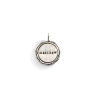 Flared Edge Personalized Name Charm with Sterling Silver Rim.