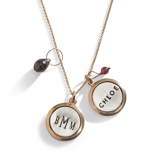 Jet Set Personalized Gold Rim Disc Necklace