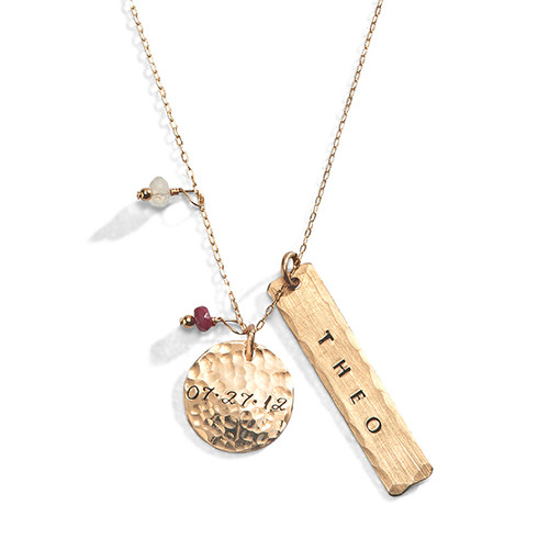 Sun Moon Hand Stamped Necklace in Yellow Gold Filled.