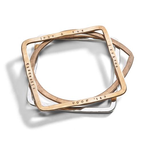 Geometric Hand Stamped Bangle Bracelet