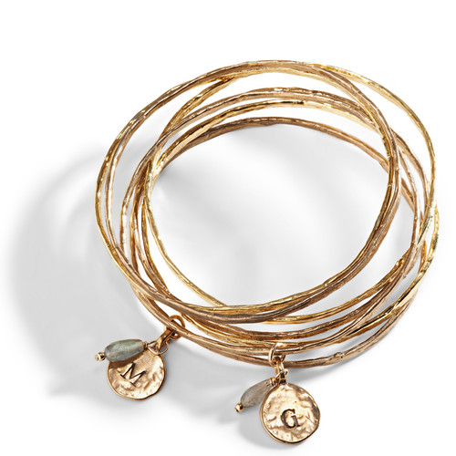 Cairo Personalized Bangle with Hand Stamped Initial Charm