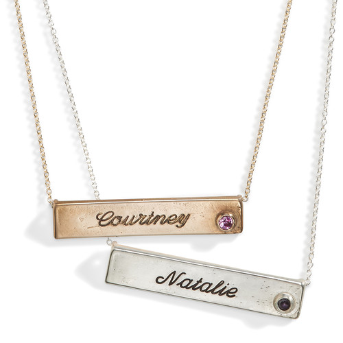 Vela Birthstone Nameplate Necklace