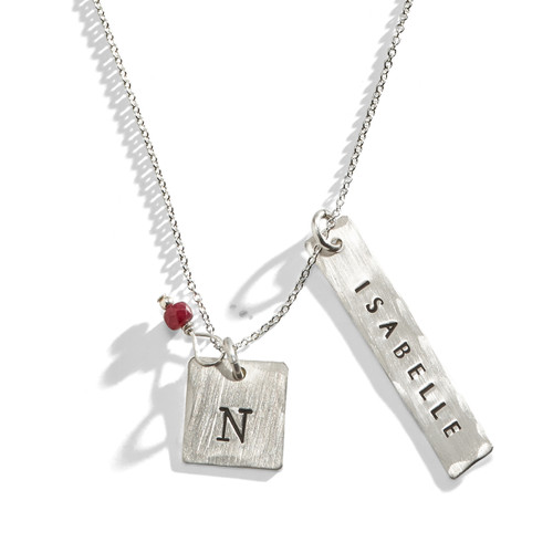 Air & Fire Hand Stamped Necklace in Sterling Silver