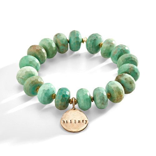 Glastonbury Green Stone and Brass Bracelet with Personalized Bronze Charm