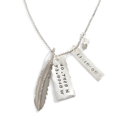 Diamond Feather Silver Necklace