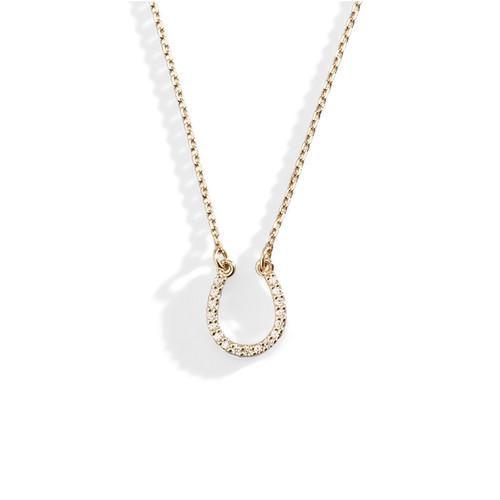 Delicate 14K Gold and Diamond Horseshoe Necklace