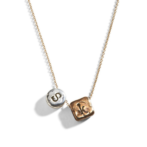 Square Circle Custom Initial Necklace