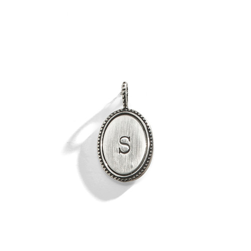 Studded Edge Oval Initial Charm