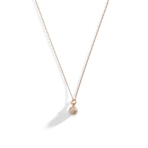 14K Rose Gold Tiny Diamond Ball Necklace