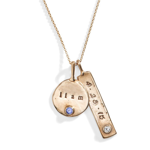 Disc & Tag Personalized Birthstone Necklace in Bronze.