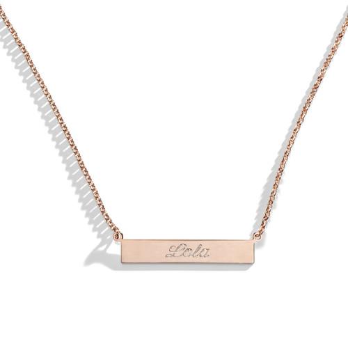 Tea Rose Engraved Bar Nameplate Necklace