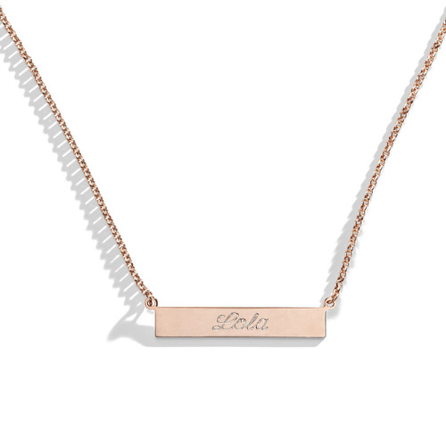 Tea Rose Engraved Bar Nameplate Necklace in Rose Gold.