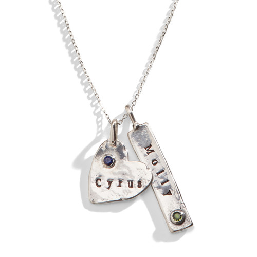 Heart & Tag Personalized Birthstone Necklace