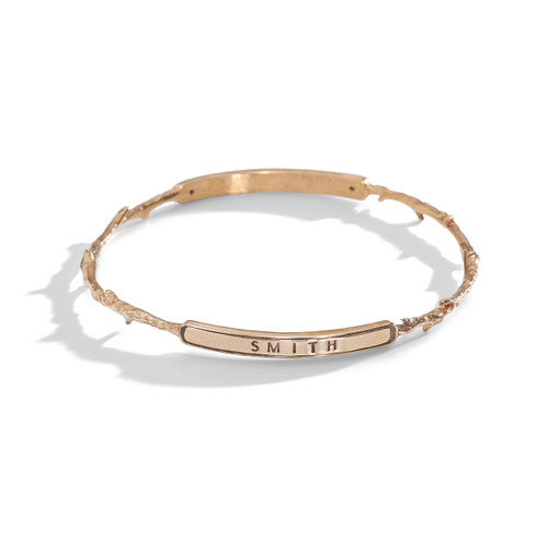 Coral Branch Personalized Double-Plaque Stacking Bangle Bracelet