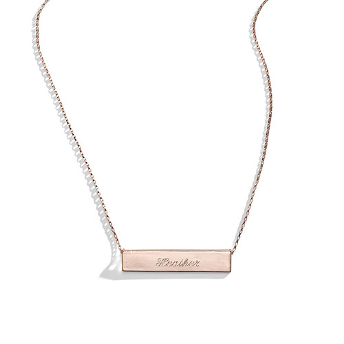 Twilight Rose Engraved Bar Nameplate Necklace