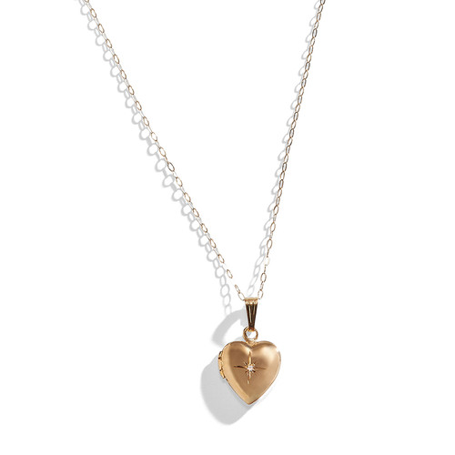14K Gold Secret Heart Locket Necklace