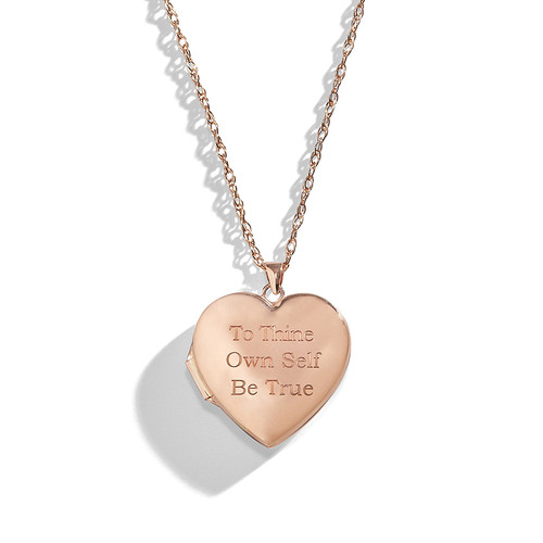 14K Rose Gold Personalized Heart Locket Necklace