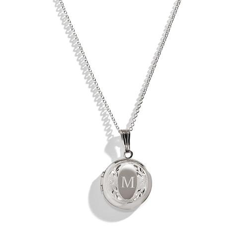 Modern Antique Sterling Silver Engraved Locket Necklace