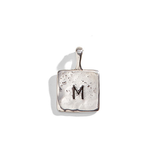 Organic Large Square Hand Stamped Initial Charm
