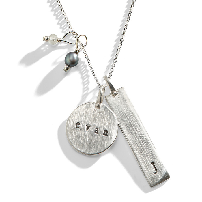 Basic Double Sided Hand Stamped Charm Necklace in Sterling Silver.