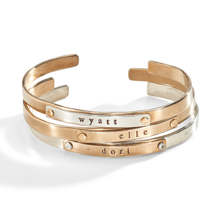Jett Multi-Metal Riveted Personalized Cuff Bracelet