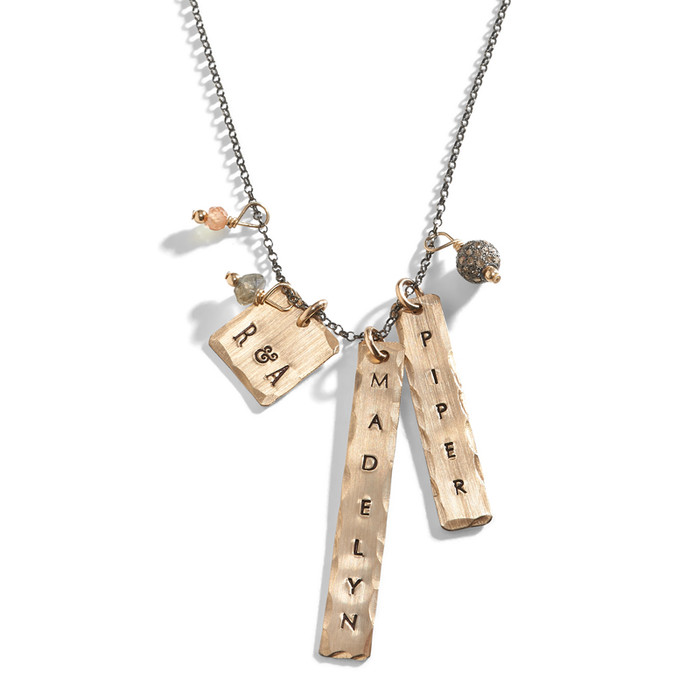 Aria Name Charm Tag Necklace offered in sterling silver chain with gold-filled rectangle charms.