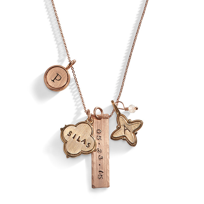 Calyx Mixed Personalized Charm Necklace in Bronze and Rose Gold-Filled.