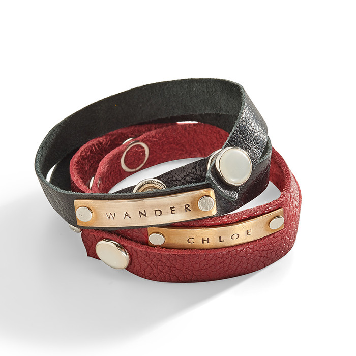 Paladin Leather Wrap Bracelet with Personalized Plaque