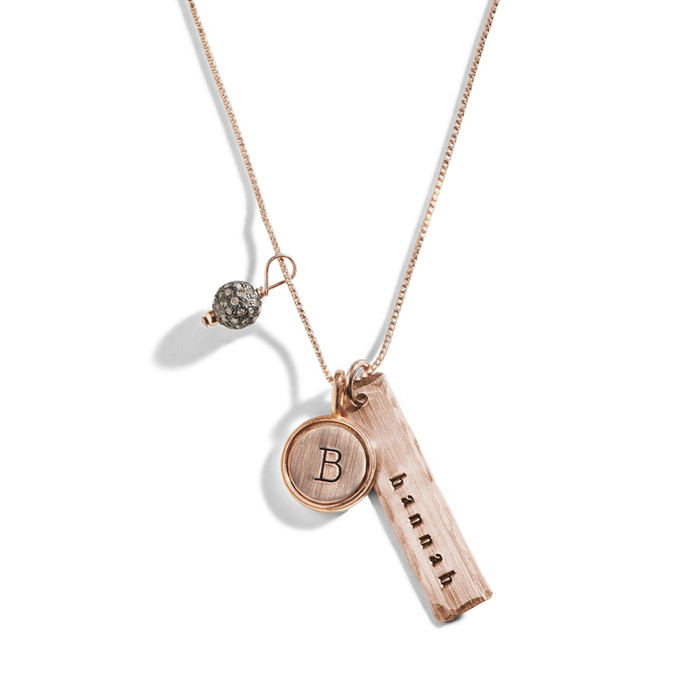 Rose gold initial necklace stamped initial charm necklace blush rose gold initial necklace with personalized rectangle charm aloadofball Choice Image