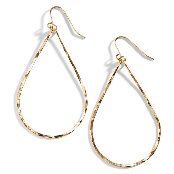 Gold Wire Teardrop Shaped Earring | Hammered Gold Wire Earrings