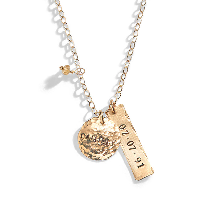 Cheyanne Personalized Rectangle Charm Necklace in Yellow Gold-Filled.