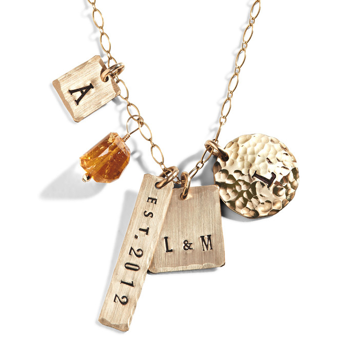 Alice Eclectic Personalized Charm Necklace in Yellow Gold-Filled.