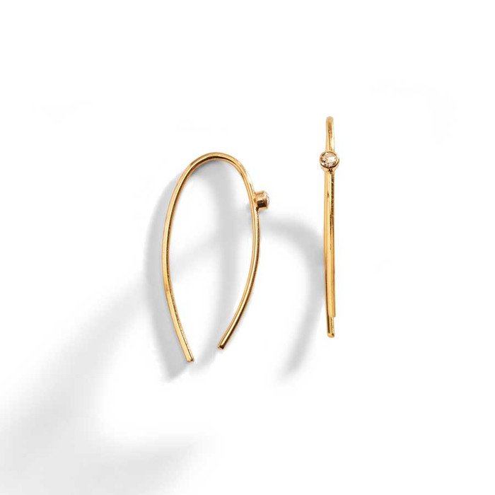 Lorren 14K Gold Sliced Diamond on a Wire Earring.
