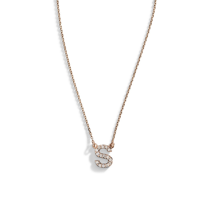 bychari spaced diamond products necklace letter initial