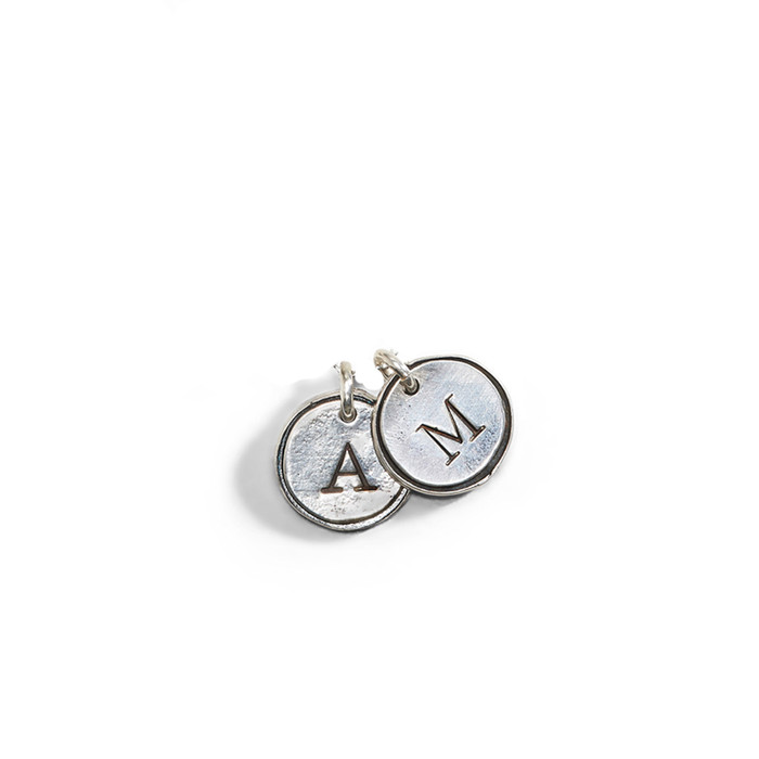 Petite Doubloon Theo Initial Charm in Sterling Silver.