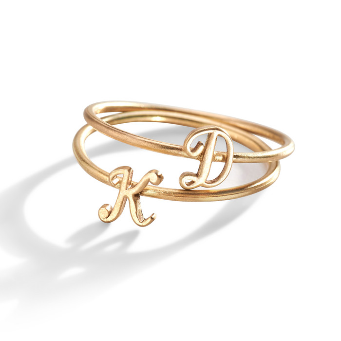 14K Gold Script Initial Ring.
