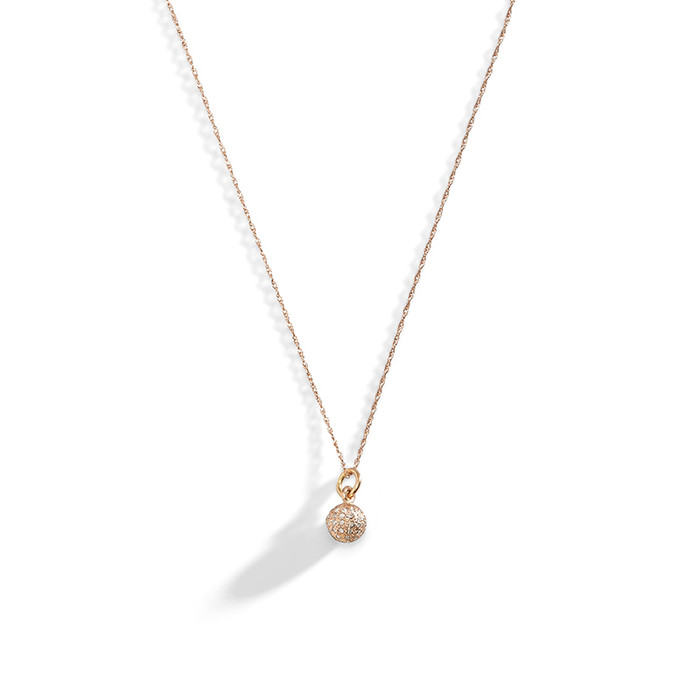 14K Rose Gold Tiny Diamond Ball Necklace