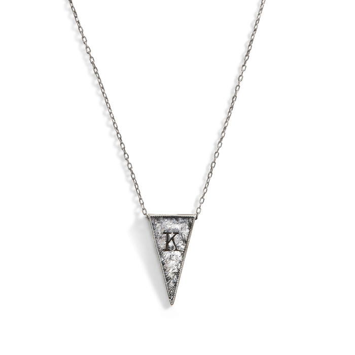 Jacques Triangle Initial Necklace in Sterling Silver.
