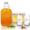 5 Piece Set: Growler  64 oz.  & Beer Can Glasses 16 oz (Set of 4) Personalized